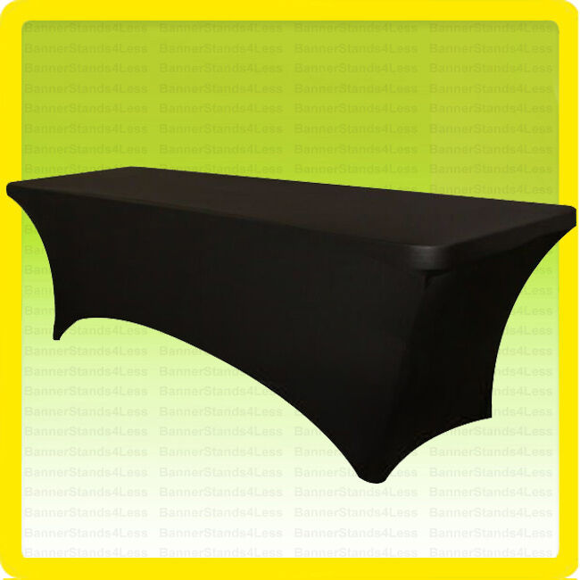 spandex 8 ft fitted tablecloth wedding banquet party stretch table cover black ebay. Black Bedroom Furniture Sets. Home Design Ideas