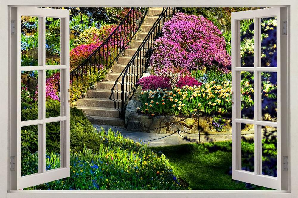 Garden view 3d window decal wall sticker home decor art for Mural garden