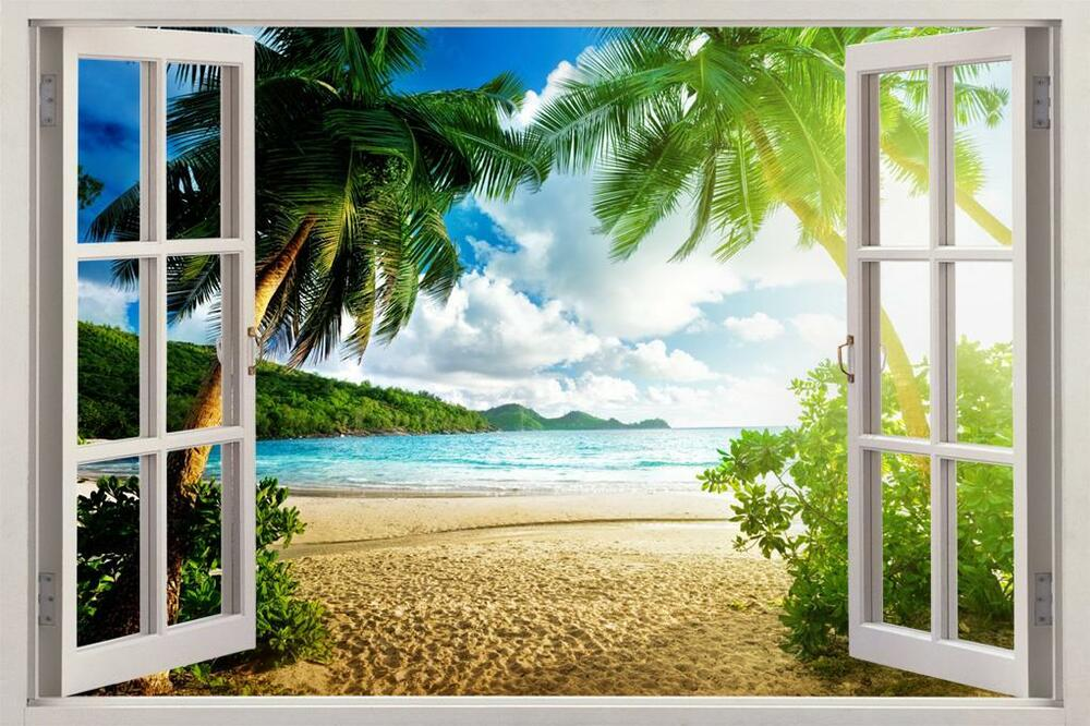 Virgin island 3d window view decal wall sticker art mural for Beach view wall mural