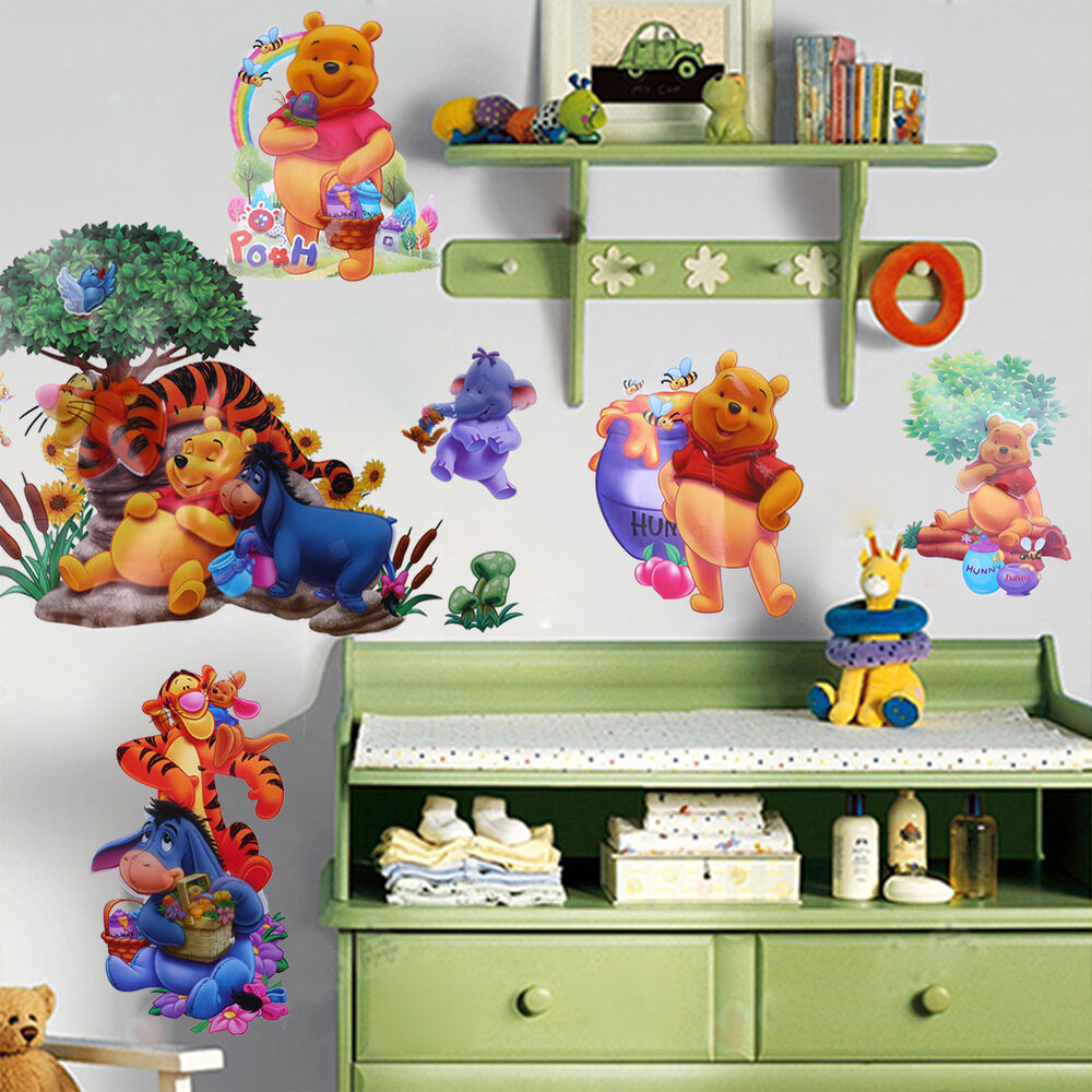 Winnie the pooh tiger art wall stickers decals baby kids for Baby room decoration wall stickers