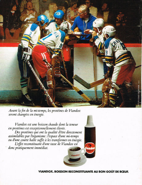 PUBLICITE ADVERTISING 065  1977  VIANDOX boisson reconstituante Hockey sur glace