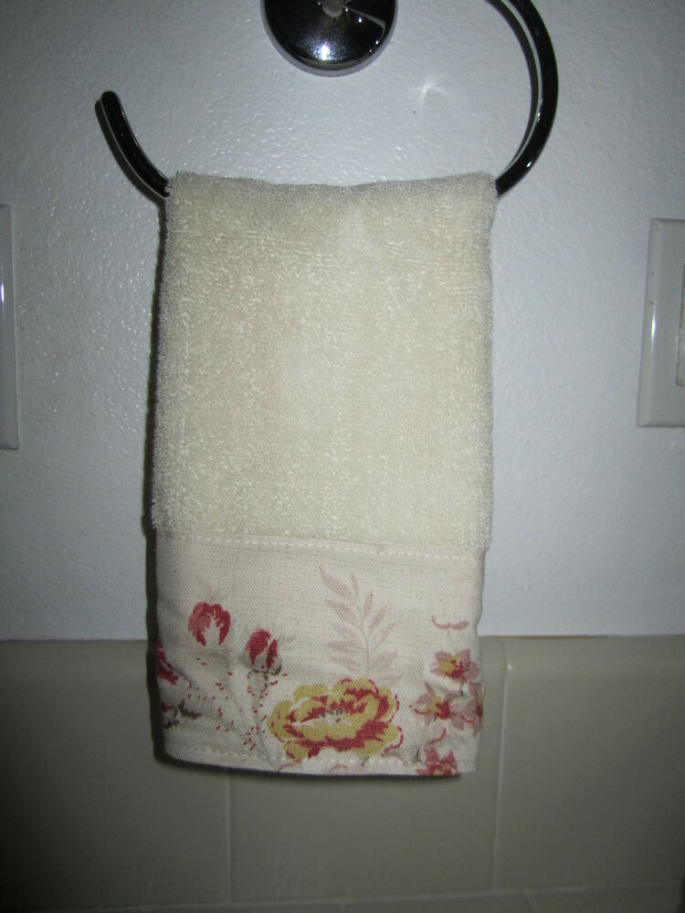 Fingertip Towels Waverly Norfolk Red Cream Rose French