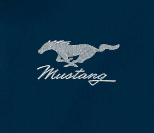 Ford Mustang Embroidered Pony Logo Navy Adult Polo Shirt