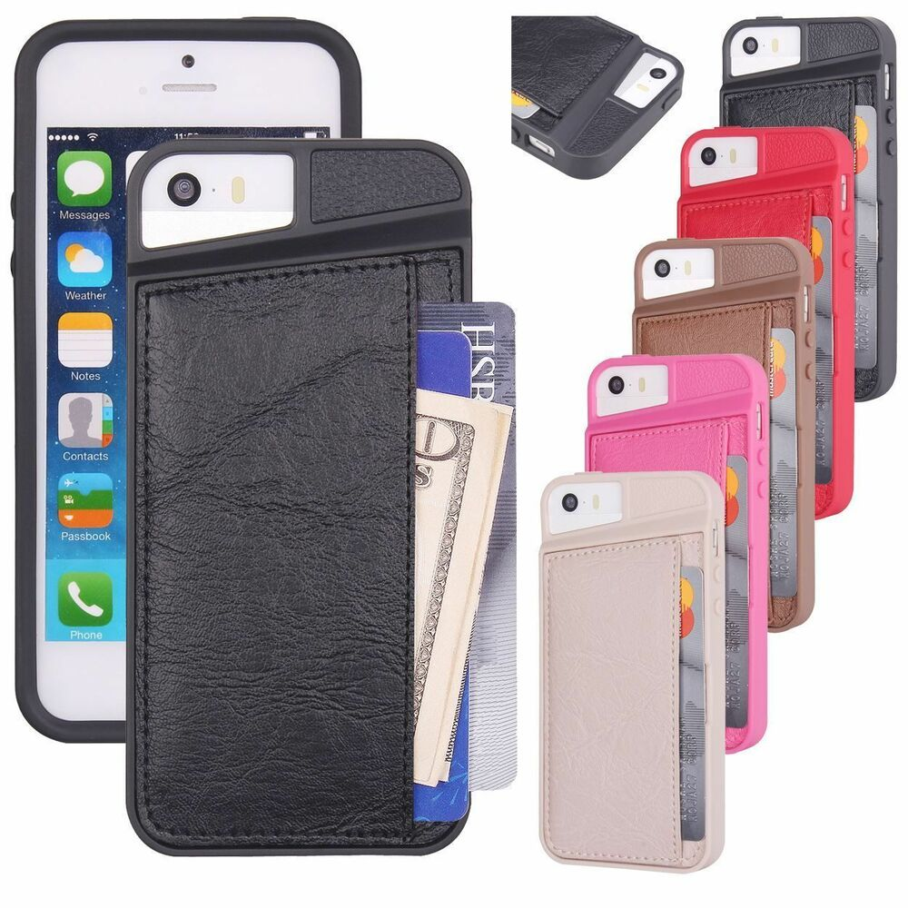 iphone 5s leather wallet case tpu leather credit card id holder wallet cover for 17481