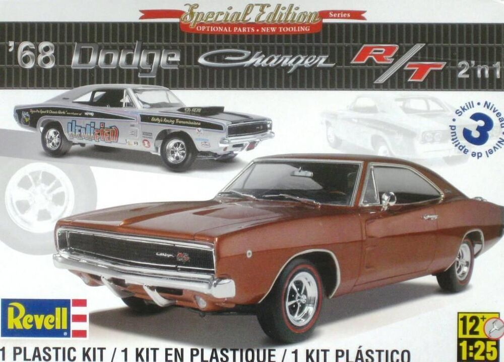dodge charger 1968 68 revell 85 4202 1 25 stock vintage drag sealed plastic kit ebay. Black Bedroom Furniture Sets. Home Design Ideas