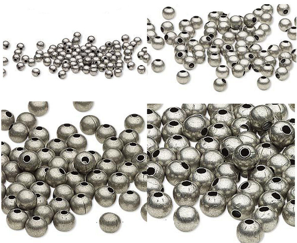 100 Antique Silver Finished Steel Metal Round Spacer Beads ...