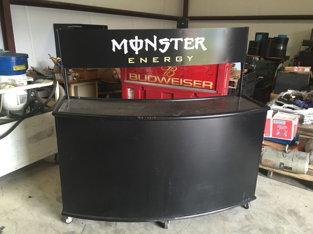 Man Cave Bar Counters : Monster energy drink lighted mobile serving bar counter