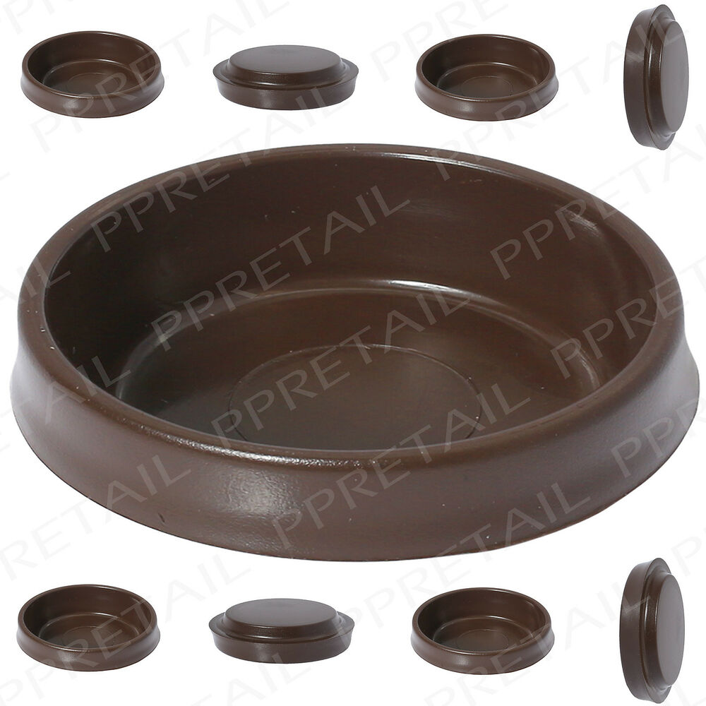 8 x brown castor cups chair sofa table furniture for Furniture protectors