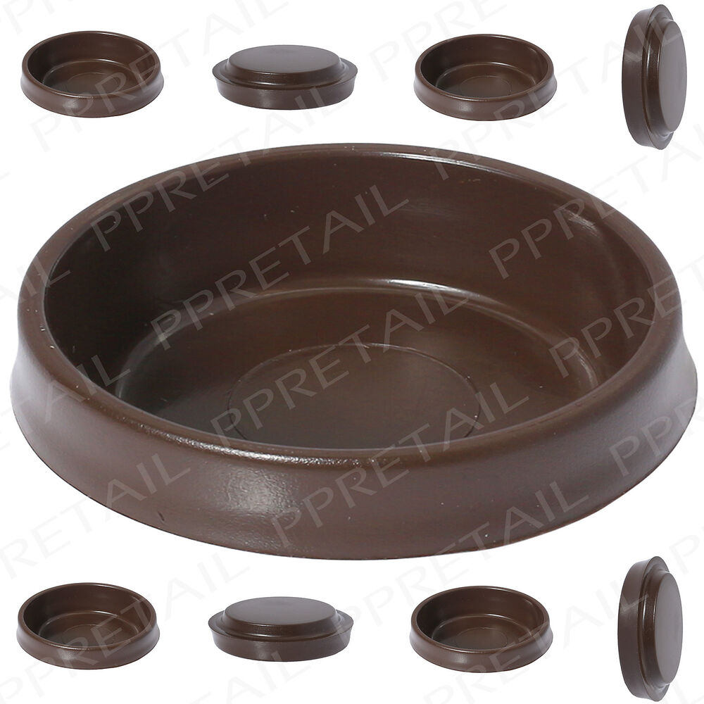 8 x brown castor cups chair sofa table furniture for Floor savers for furniture