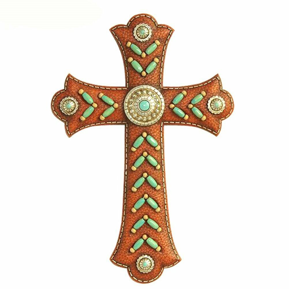 Montana west 12 wall cross spiritual home decor turquoise indian beads brown ebay Home decor wall crosses