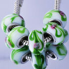 5Pcs Silver GF MURANO GLASS BEADS LAMPWORK Fit European Charm Bracelet D6492