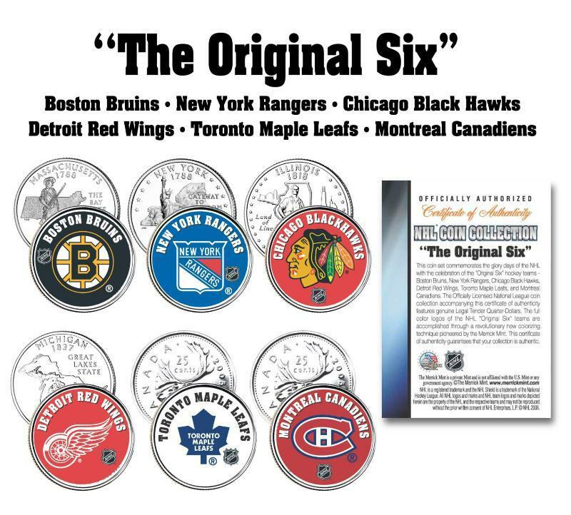 Details about   THE ORIGINAL SIX   NHL TEAMS 6-Coin Set Canada   US  Quarters Legal Tender 07ee55ca9