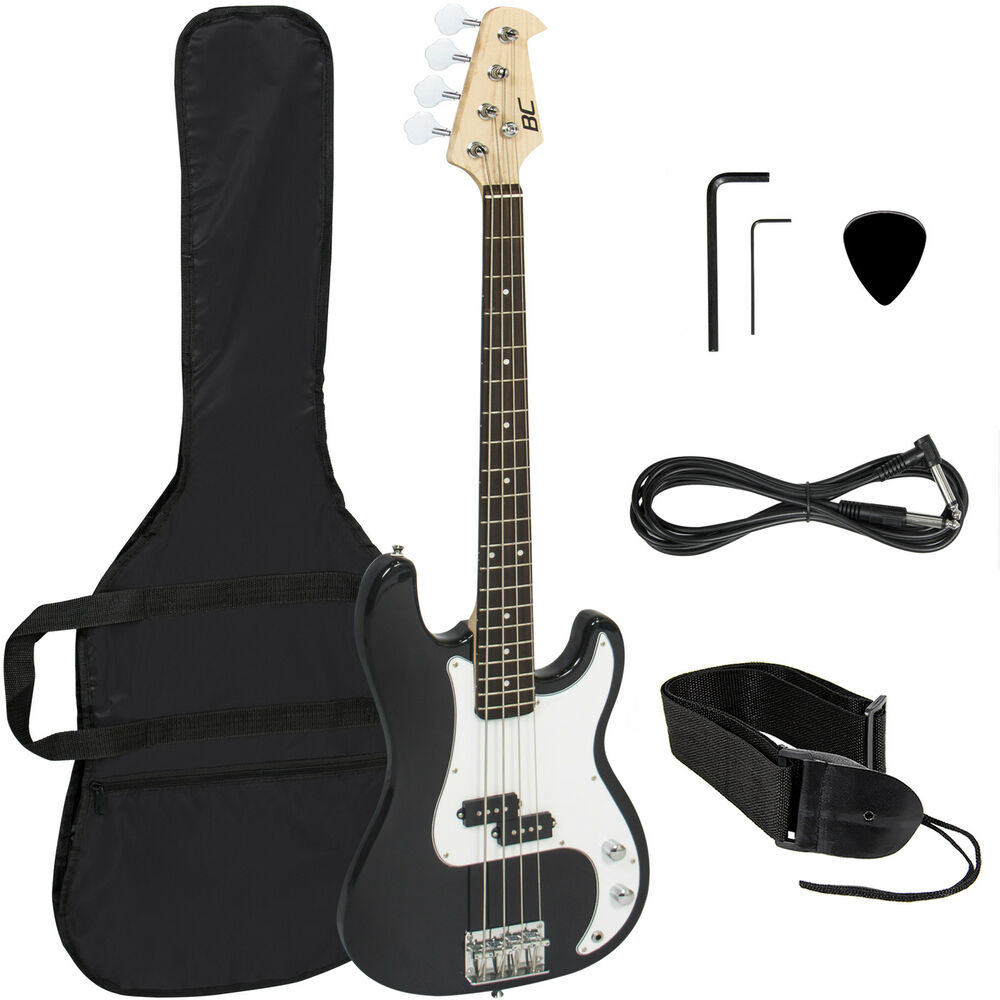 black electric bass guitar including strap guitar case amp cord and more ebay. Black Bedroom Furniture Sets. Home Design Ideas