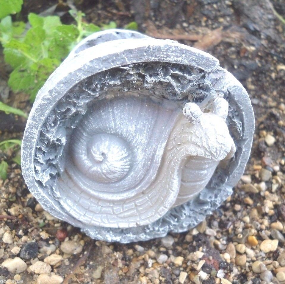Garden Cement Molds: Latex Only Snail In Pot Mold Plaster Concrete Casting
