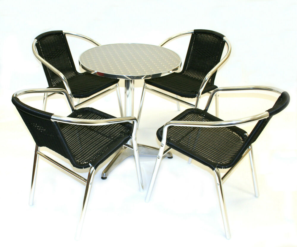 Black rattan bistro furniture cafe table and chairs for Garden table and chairs