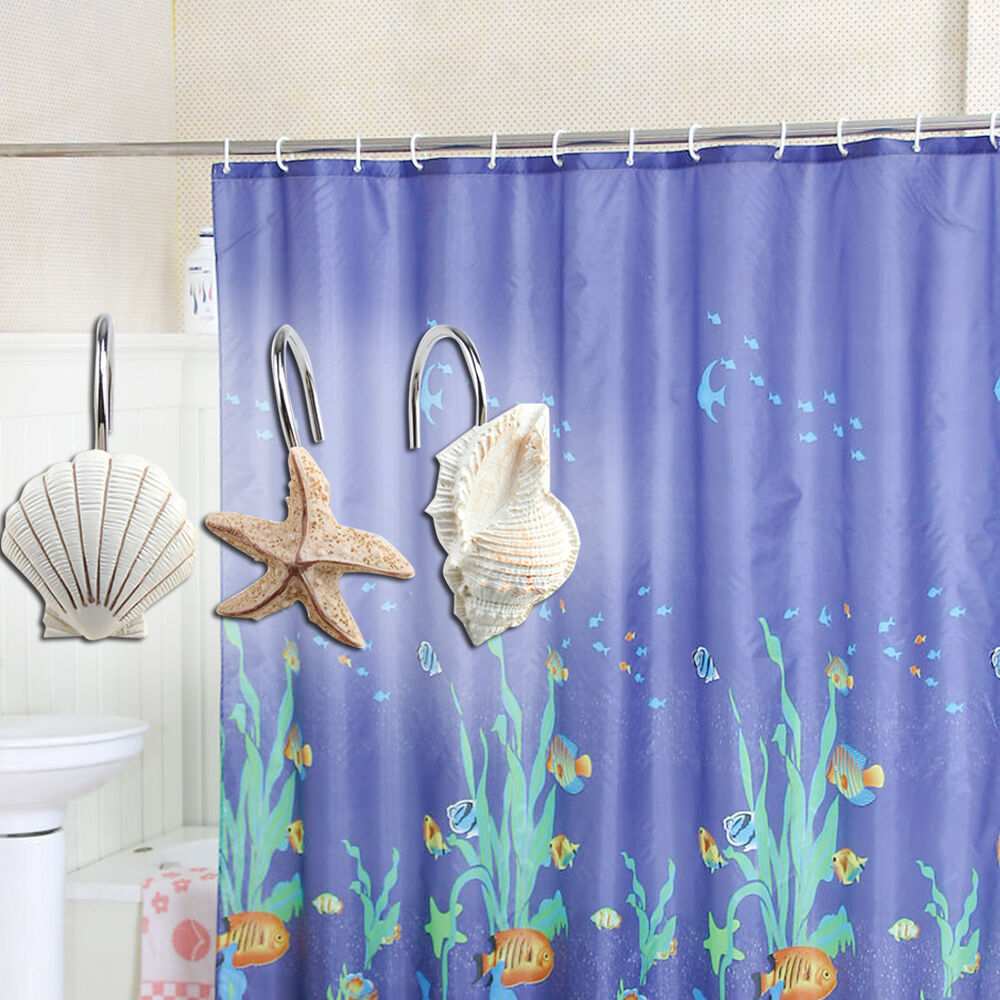 New 12 Pcs Decorative Seashell Shower Curtain Hooks Bathroom Beach Shell Decor Ebay