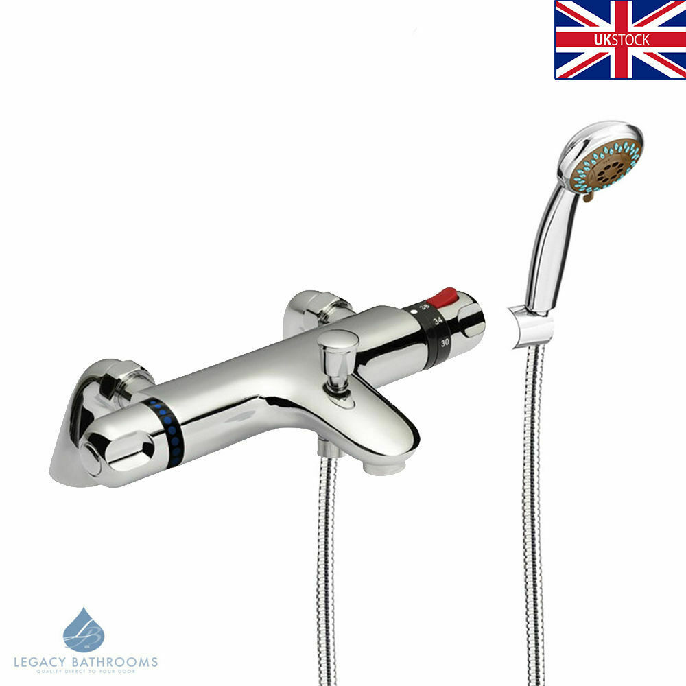 Chrome Modern Thermostatic Bath Shower Mixer Tap Deck