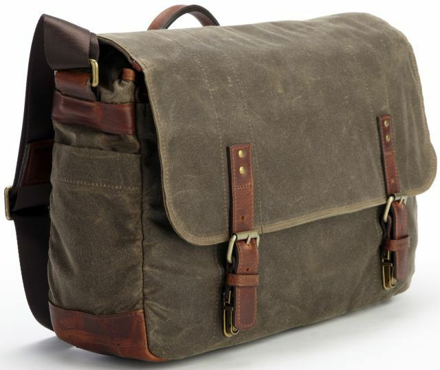 new korchmar f3197 justin waxed canvas leather messenger