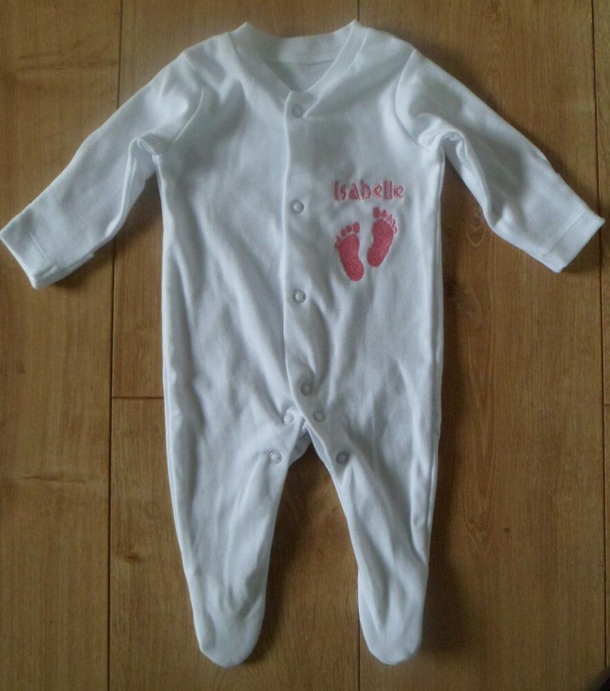 PERSONALISED SLEEPSUIT ANY NAME EMBROIDERED BABY BOY GIRL