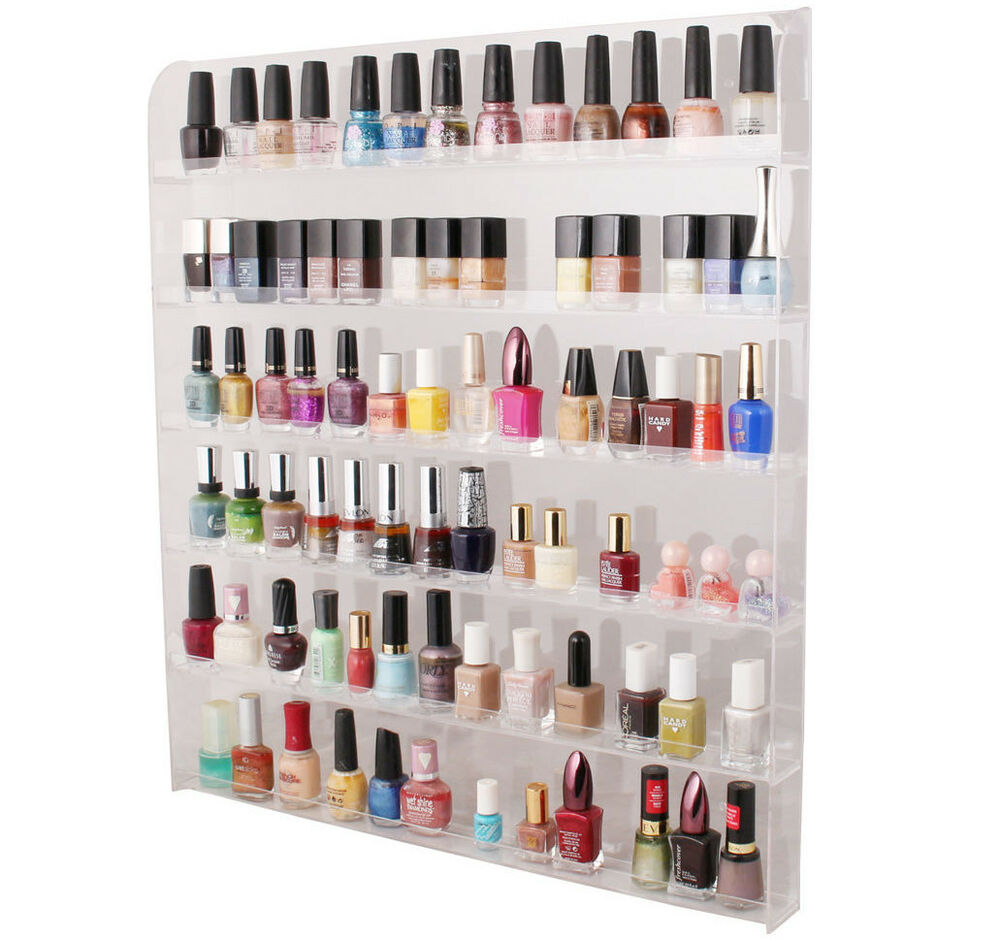 Acrylic Clear Cosmetic Nail Polish Display Wall Hang Rack