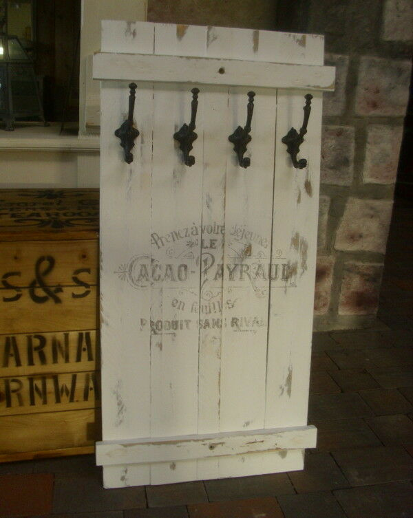 shabby frachtkiste wandgarderobe cacao payraud garderobe antik vintage retro w ebay. Black Bedroom Furniture Sets. Home Design Ideas