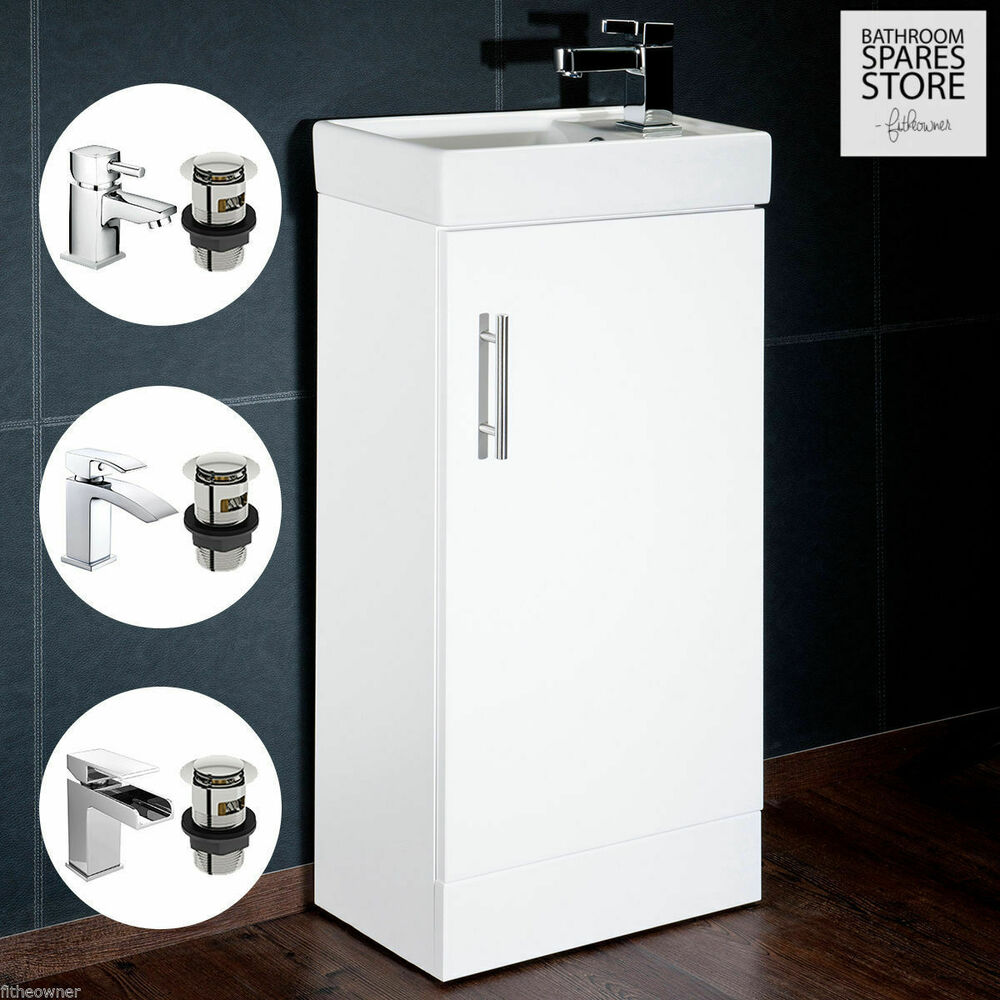 High Gloss White Compact Bathroom Cabinet Vanity Unit Basin Sink Cloakroom 400mm Ebay