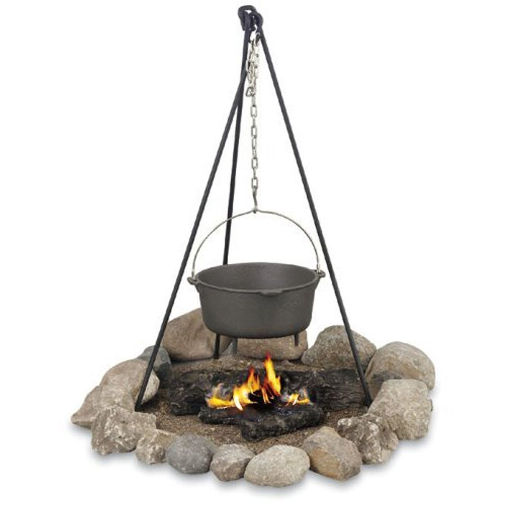 Campfire tripod best outdoor dutch oven cooking pot pan for Dutch oven camping recipes for two