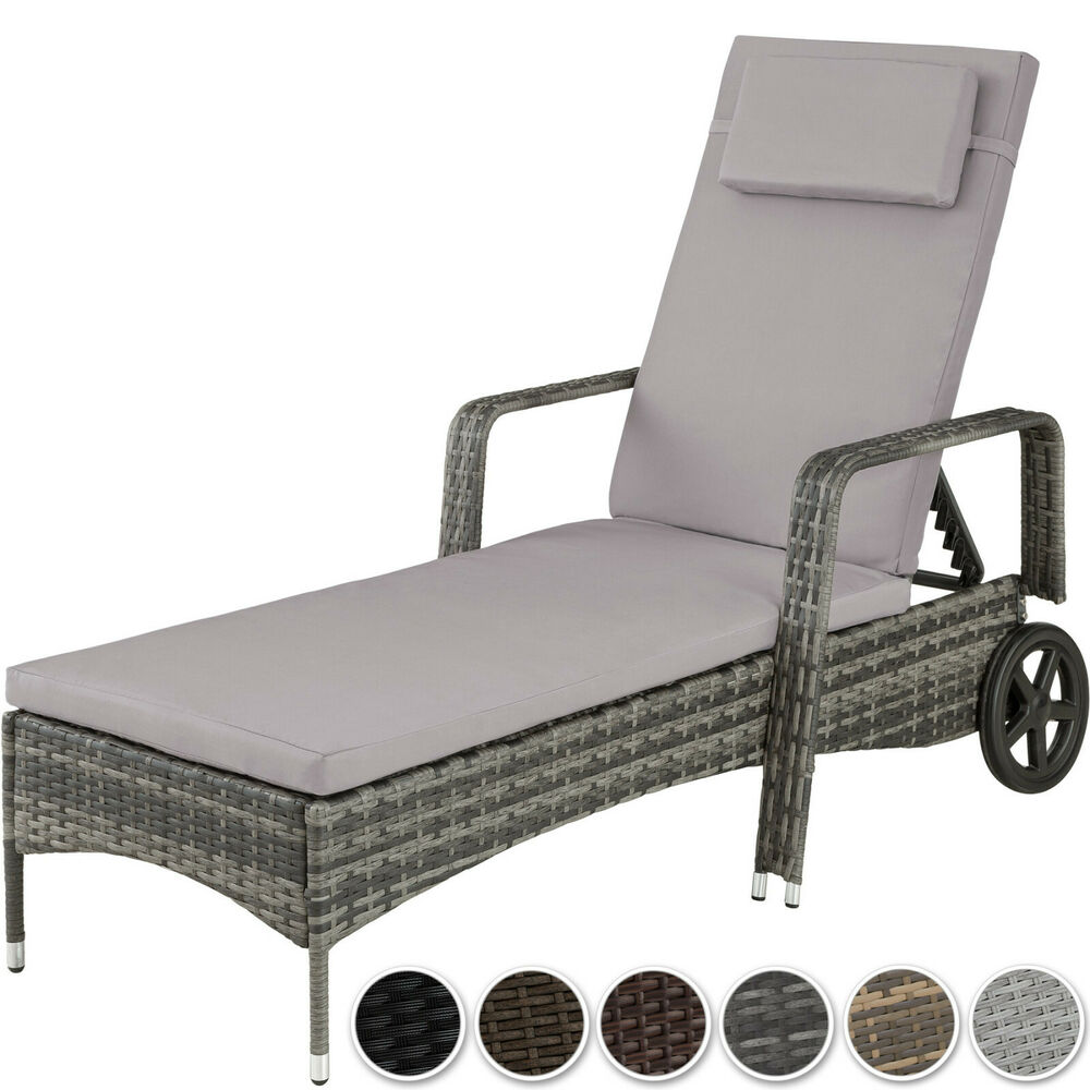 polyrattan sonnenliege garten rattan liege gartenliege gartenm bel rattanm bel ebay. Black Bedroom Furniture Sets. Home Design Ideas