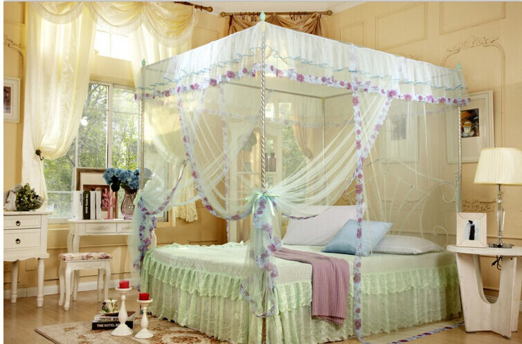 4 corners poster canopy curtain mosquito net twin xl full - King size canopy bed with curtains ...
