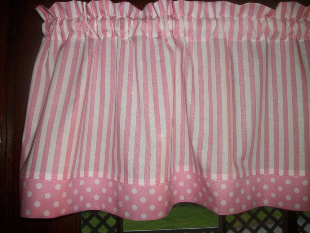 Pink white stripe polka dot baby girl nursery waverly for Curtain fabric for baby nursery