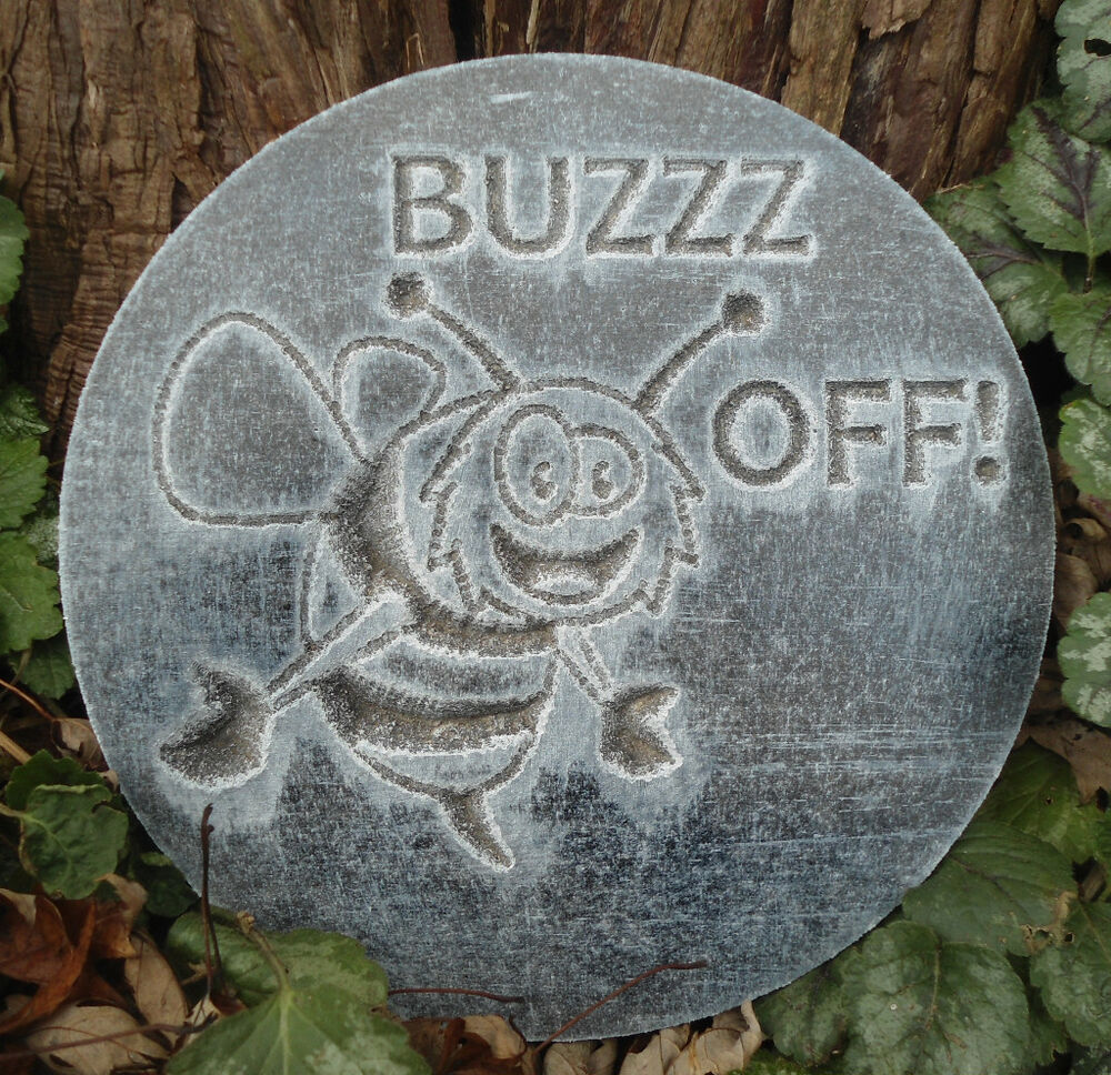 plastic plaque mold buzzz off garden plaque stepping. Black Bedroom Furniture Sets. Home Design Ideas