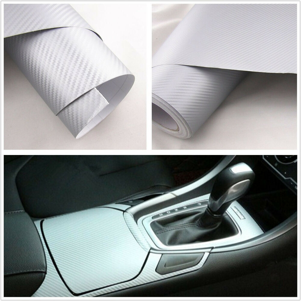 pvc plastic silver 3d carbon fiber vehicle interior dashboard vinyl film sticker ebay. Black Bedroom Furniture Sets. Home Design Ideas