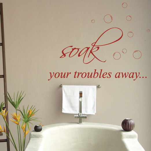 Quotes lettering bathroom wall stickers wall decals ebay for Bathroom wall decor quotes