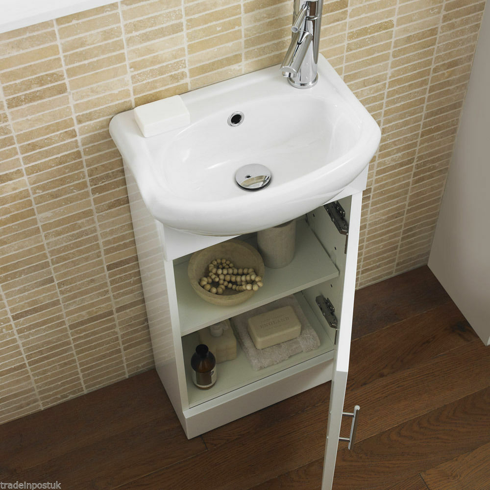 White bathroom cabinet vanity basin sink unit cloakroom for Bathroom cabinets 400mm high