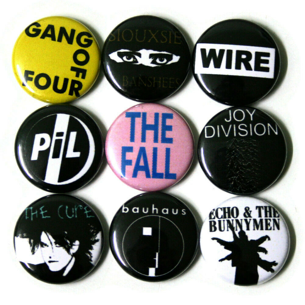 post punk badges buttons pinbacks pins x 9 size 1 inch. Black Bedroom Furniture Sets. Home Design Ideas
