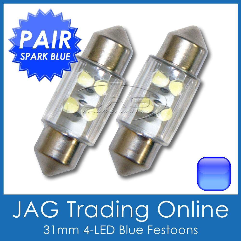 2 x 31mm blue 4 led festoon interior light globes bulbs car 4x4 caravan truck ebay. Black Bedroom Furniture Sets. Home Design Ideas