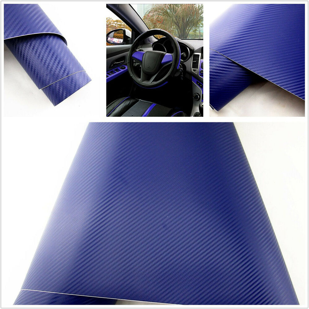 15 x 39 diy dark blue 3d carbon fiber auto interior armrest vinyl film sticker ebay. Black Bedroom Furniture Sets. Home Design Ideas