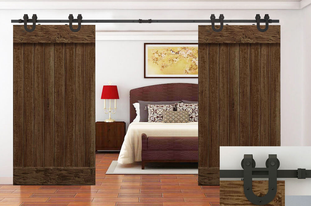 12 ft antique country dark coffee barn wood steel sliding for 12 foot sliding barn door hardware