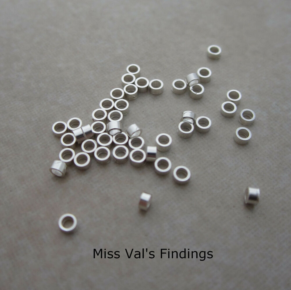 100 Sterling Silver Jewelry Crimp Bead 2mm X 1mm Tube 1