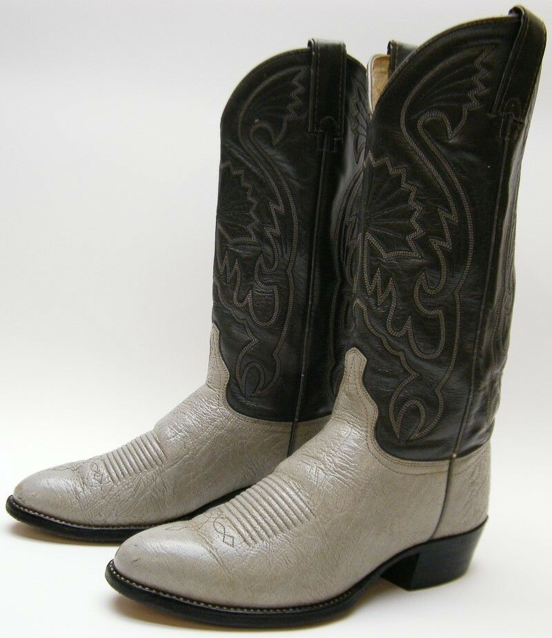 mens vintage imperial usa made grey gray leather cowboy