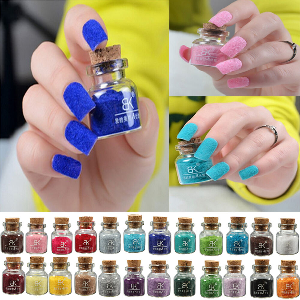24 Colors Nail Art Velvet Flocking Powder Tip UV Polish
