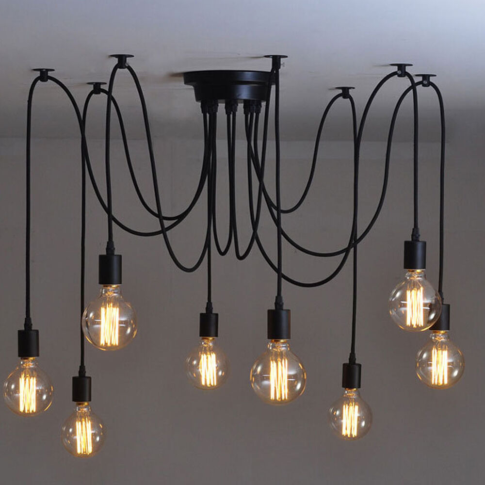 8 heads vintage industrial ceiling lamp edison light chandelier pendant lighting ebay - Chandelier ceiling lamp ...