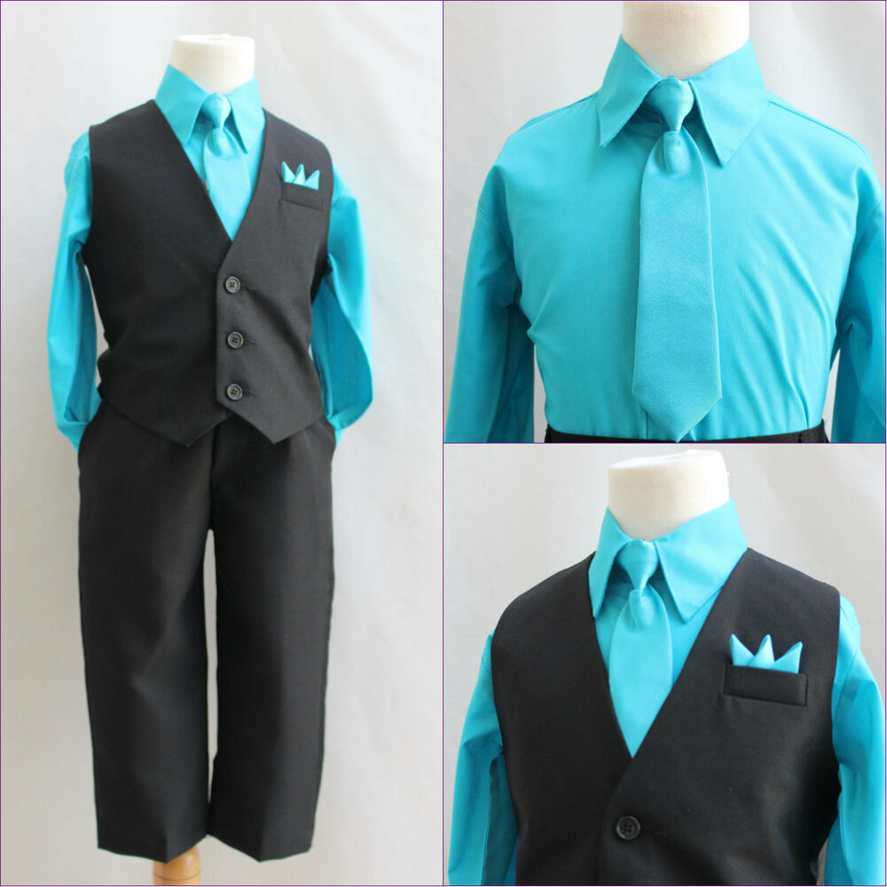 Solid Black turquoise blue boy 4 pc set vest and tie wedding party ...