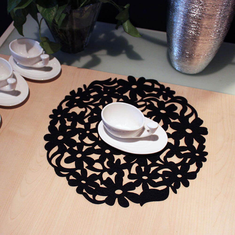 Round Laser Cut Flower Felt Placemats Kitchen Dinner Table