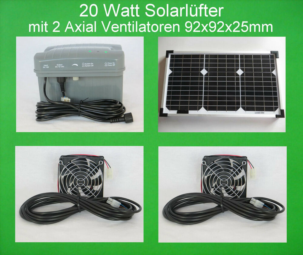 20 w solarl fter mit 2 axial l fter ventilator akku batterie solarventilator neu ebay. Black Bedroom Furniture Sets. Home Design Ideas