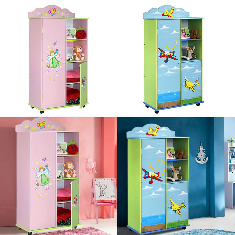 Children Kids Pink Blue Storage Cabinet Medium Wardrobe