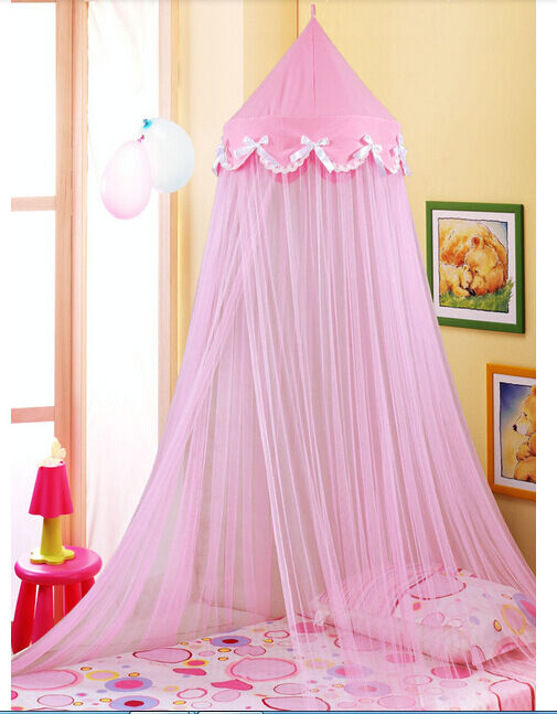 Bowknot Decorative Princess Pink Dome Netting Canopy Fly