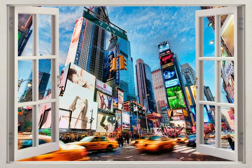 New york city 3d window view decal wall sticker home decor for New york city decor
