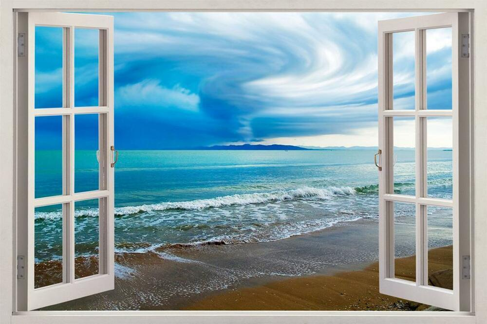 Tornado over sea 3d window view decal wall sticker art mural nature exotic beach ebay for Beach view wall mural