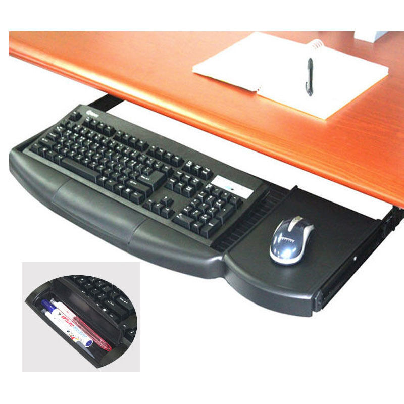 New Under Desk Fixing Slide Keyboard Amp Mouse Holder Pencil